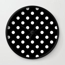 Black Polka Dots Palm Beach Preppy Wall Clock