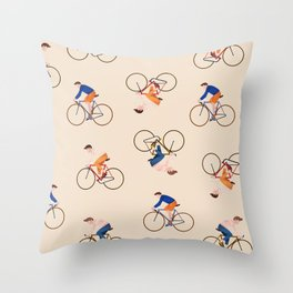 Bike Pattern Throw Pillow