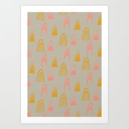 Winks > Salmon + Mustard Art Print