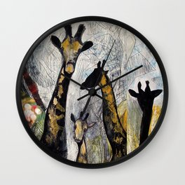 Collage with giraffes Wall Clock