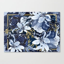 Navy Blue & Gold Watercolor Floral Canvas Print