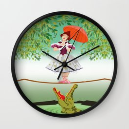 The Umbella girl With crocodile Wall Clock