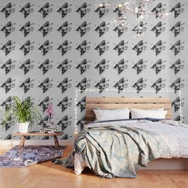Vintage Abstract Art Monochromatic Black and White Geometric Shape Pattern with an Eye Wallpaper