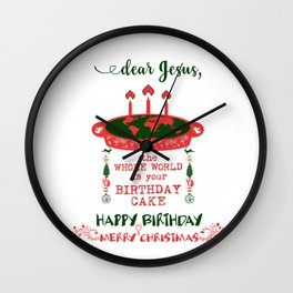 DEAR JESUS - BIRTHDAY CAKE - MERRY CHRISTMAS Wall Clock