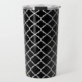 Black and White Moroccan Quatrefoil Travel Mug