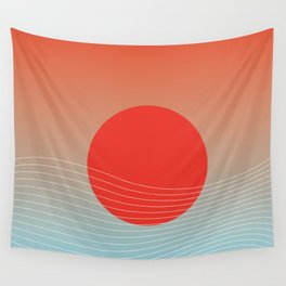 Red sun & white waves Wall Tapestry