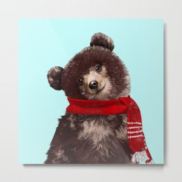 Baby bear in Christmas Mood Metal Print