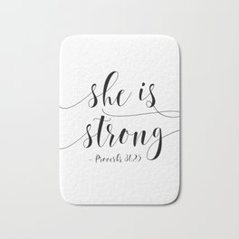 SHE IS STRONG, Proverbs 31 : 25,Nursery Girls,Gift For Her,Women Gift,Feminism Gift,Bedroom Decor Bath Mat