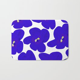 Blue Retro Flowers Bath Mat