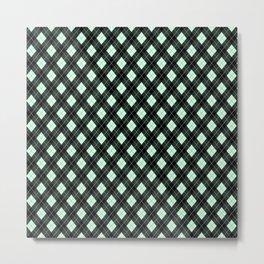 Summermint Green and Black Argyle Plaid Pattern Metal Print
