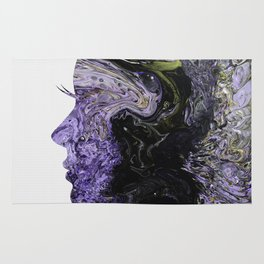 Fluid Art Dirty Cup Pour Abstract Woman Face Silhouette Rug