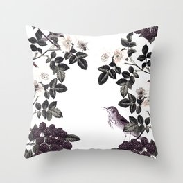 Blackberry Spring Garden - Birds Bees and Flowers Throw Pillow