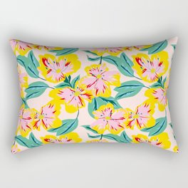 Happy Florals + Leaves Rectangular Pillow