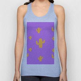 Mustard Cactus White Poka Dots in Purple Background Pattern Unisex Tank Top