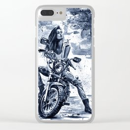 Biker Girl Clear iPhone Case