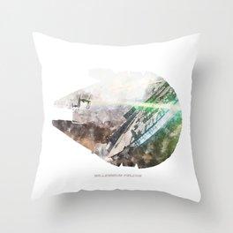 Star War Millennium Falcon - Wall Art, Poster, Print, Watercolor, Fine Art, Series 1 of 6 Throw Pillow