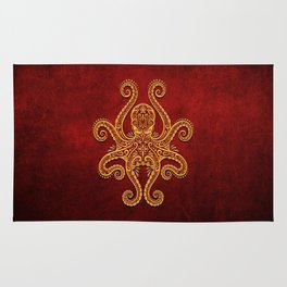 Intricate Red and Yellow Octopus Rug