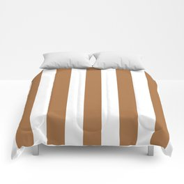 Metallic bronze - solid color - white vertical lines pattern Comforters
