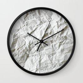 CRUMPLED WRINKLED WHITE PAPER I Wall Clock