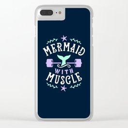 Mermaid With Muscle Clear iPhone Case