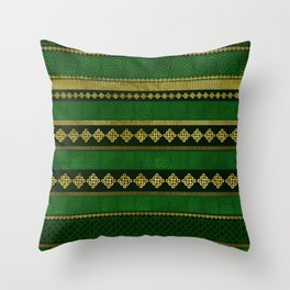 Celtic Knot Decorative Gold and Green pattern Throw Pillow