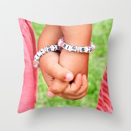 Big Sis & Lil Sis Holding Hands Throw Pillow