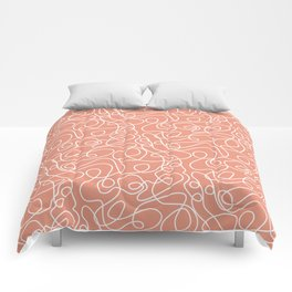 Doodle Line Art | White Lines on Coral Background Comforters