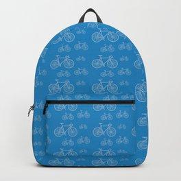 Blue Bike Pattern Backpack