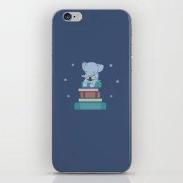 Kawaii Elephant Reading Books iPhone Skin
