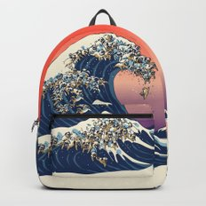 The Great Wave of Pug Backpacks