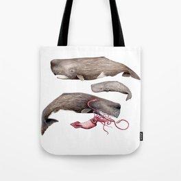 Sperm whale family Tote Bag