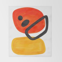 Midcentury Modern Colorful Abstract Pop Art Space Age Fun Bright Orange Yellow Colors Minimalist Throw Blanket