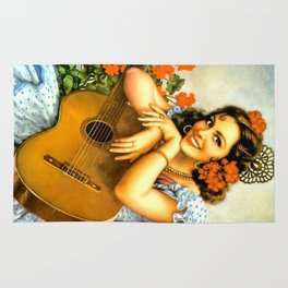 Mexican Calendar Girl with Guitar by Jesus Helguera Rug