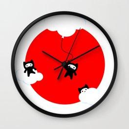 Ninja cats in the sky (Japanese edition) Wall Clock