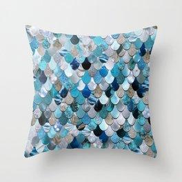 Mermaid Ocean Blue Throw Pillow