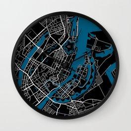 Copenhagen city map black colour Wall Clock