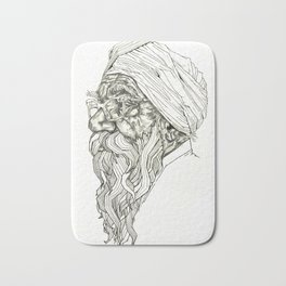 Geometric Graphic Black and White Drawing Indian Sikh Bath Mat