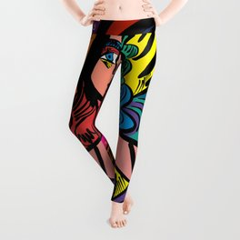 Tarot Girl with Hat French Art Cubism Leggings