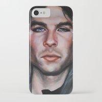 the vampire diaries iPhone & iPod Cases featuring Ian Somerhalder (Damon from Vampire Diaries) by Britanee LeeAnn Sickles