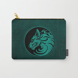 Teal Blue Growling Wolf Disc Carry-All Pouch