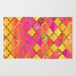 Moroccan Tile Pattern In Pink, Red, Orange, And Gold Rug