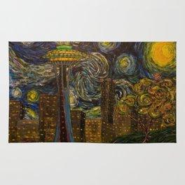 Dedication to Van Gogh: Seattle Starry Night Rug