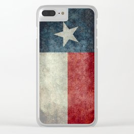 Texas flag, Retro style Vertical Banner Clear iPhone Case