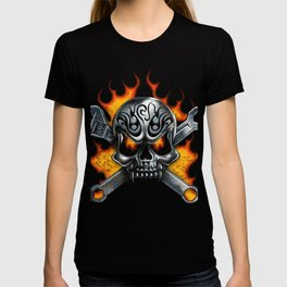 Flaming Skull and Wrenches T-shirt