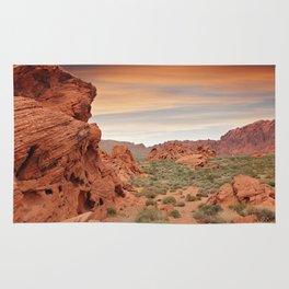 Desert mountains with open sandy area and small plants and rocks Rug
