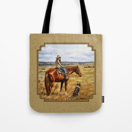 Young Cowgirl on Cattle Horse Tote Bag