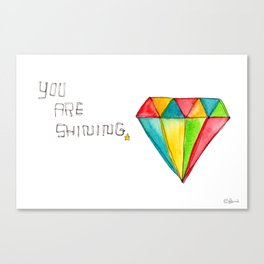 You Are Shining diamond illustration geometric pattern watercolor drawing nursery minimalism Canvas Print
