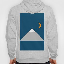 Mountain and Crescent Moon Illustration Hoody