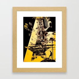 ADVENTURES - Abstract surreal yellow black collage Part 3/3 Framed Art Print