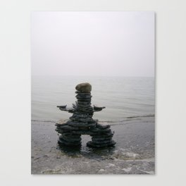Stone Inukshuk on The Shore Looking Out Over Calm Water ~ A Meaningful Messenger Canvas Print